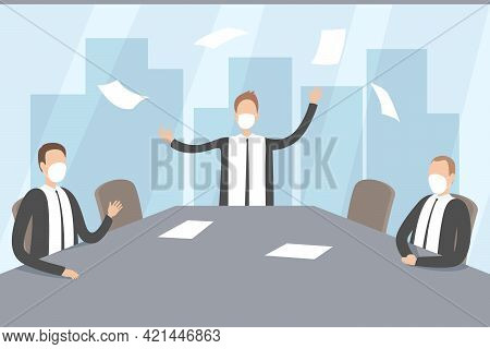 Angry Boss And His Team In Boardroom. Qurantine. Vector Illustration.