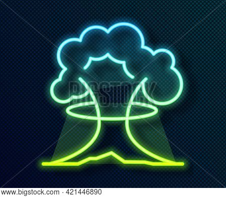 Glowing Neon Line Nuclear Explosion Icon Isolated On Black Background. Atomic Bomb. Symbol Of Nuclea