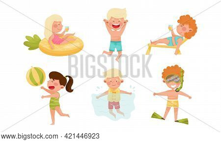 Children At Sea Shore Playing, Sunbathing And Swimming In Water Vector Set