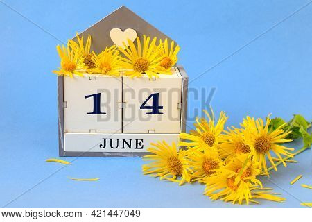 Calendar For June 14: Cubes With The Number 14 , The Name Of The Month Of June In English, A Yellow