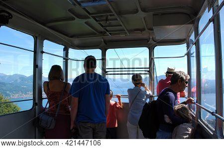 Stresa - Lago Maggiore (lake Maggiore), Italy - August 13, 2017: Inside The Arial Cableway Cabin Fro
