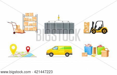 Shopping Logistics From Order Batching, Transportation And Delivery Vector Illustration Set