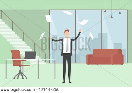 Man Yelling And Scattering Documents. Vector Illustration.