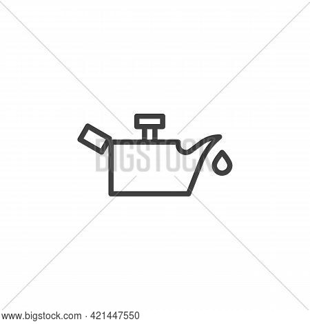 Engine Oil Pressure Line Icon. Linear Style Sign For Mobile Concept And Web Design. Oil Pressure Ind