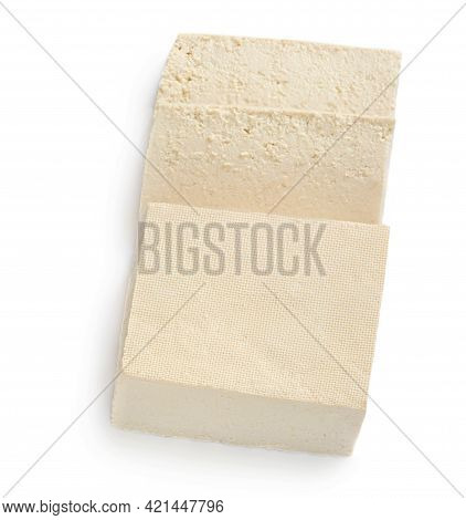 Tofu Cheese Isolated On White Background. Diced Tofu Top View. Flat Lay. Food Concept.