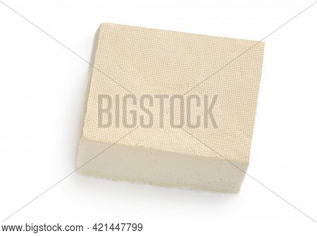 Tofu Cheese Isolated On White Background. Diced Tofu Block Top View. Flat Lay. Food Concept.