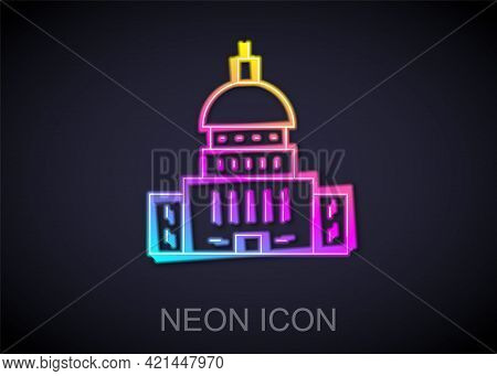 Glowing Neon Line White House Icon Isolated On Black Background. Washington Dc. Vector