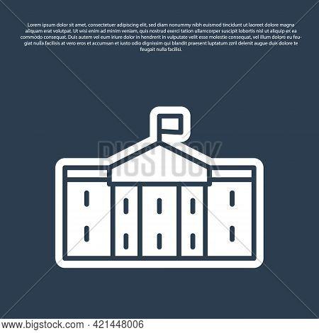 Blue Line United States Capitol Congress Icon Isolated On Blue Background. Washington Dc, Usa. Vecto
