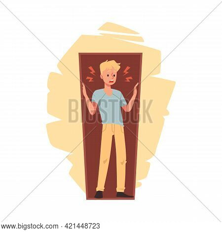 Fear Of Confined Spaces Or Claustrophobia, Flat Vector Illustration Isolated.