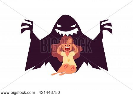 Scared Little Girl In Panic Afraid Scary Monster, Kid Suffers From Bad Nightmare