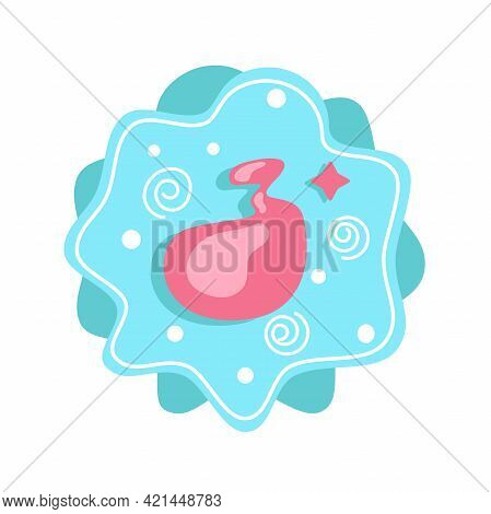 Cartoon Number 3 Isolated On Background For Childrens Holiday Design. Vector Illustration Of Number