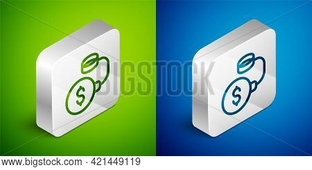 Isometric Line Debt Ball Chained To Dollar Coin Icon Isolated On Green And Blue Background. Big Heav