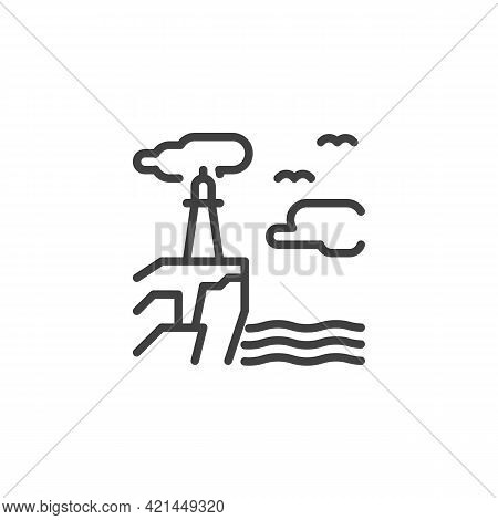 Lighthouse On Seashore Line Icon. Linear Style Sign For Mobile Concept And Web Design. Seascape With