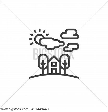 Country House Landscape Line Icon. Linear Style Sign For Mobile Concept And Web Design. Home With Tr