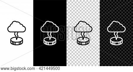 Set Line Storm Icon Isolated On Black And White, Transparent Background. Cloud And Lightning Sign. W