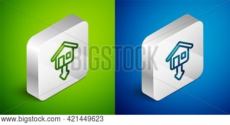 Isometric Line Property And Housing Market Collapse Icon Isolated On Green And Blue Background. Fall