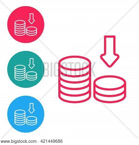 Red Line Dollar Rate Decrease Icon Isolated On White Background. Cost Reduction. Money Symbol With D