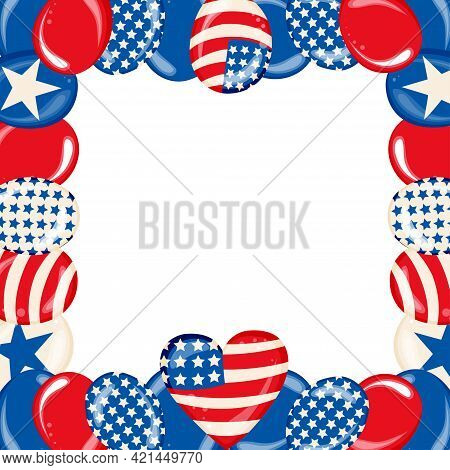 Happy Fourth Of July Independence Day Poster With Shiny Usa Flag Colored Balloons On White Backgroun