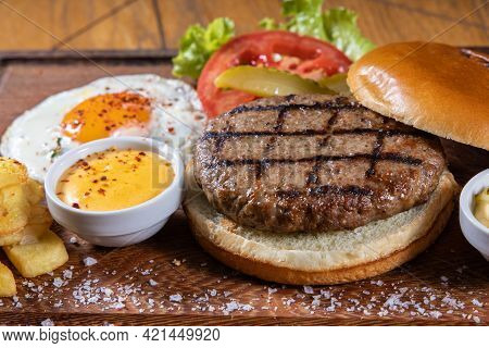 Tasty Grilled Burger With Ingredients. Delicious Burger