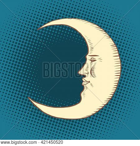 Luna Is A Character. A Crescent Moon In The Night Sky. Face