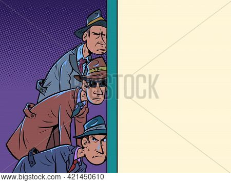 Retro Spies Listening Through The Wall. A Few Men Put Their Ear To It And Learn The Secrets
