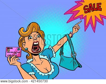 A Woman With A Credit Card Shouts Discount Sale. The Buyer Points With His Hand