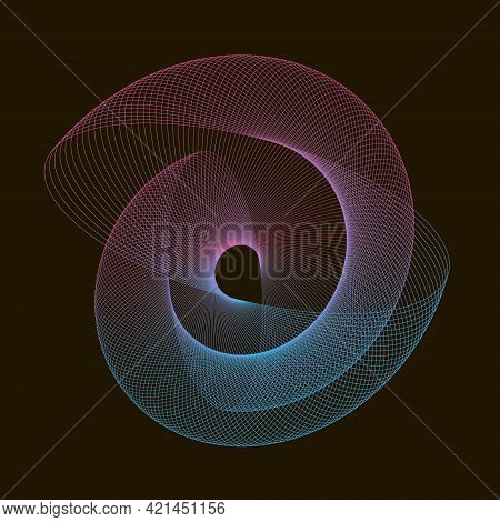 Abstract Element Of Spirograph. Spiral Wavy Lines On A Black Background.