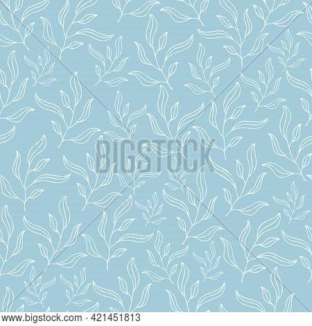 Pastel Blue Leaves Seamless Patterns Set. Botanical Floral Hand Drawn Lineart Flower Elements. Packa