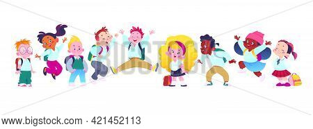 Portrait Of Happy School Kids Group Standing Together On White Background. Boys And Girls Characters