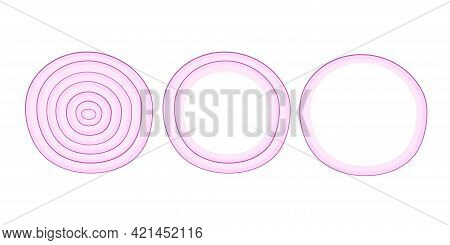 Red Onion Slices. Overhead View Of Isolated Circle Slice Onion. Vector Illustration Isolated On Whit