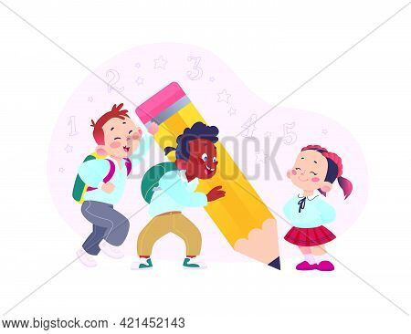 Back To School Concept Design With Happy School Kids Writing Together With Big Pencil Isolated On Wh