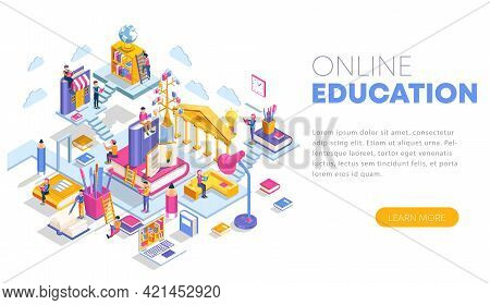 Modern Flat Design Isometric Concept Of Online Education. Landing Page Template. Training Courses, S