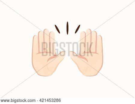 Raising Hands Icon. Hand Gesture Emoji Vector Illustration.