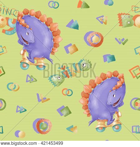 Seamless Pattern. Cute Cartoon Dinosaurs. Print For The Childrens Room