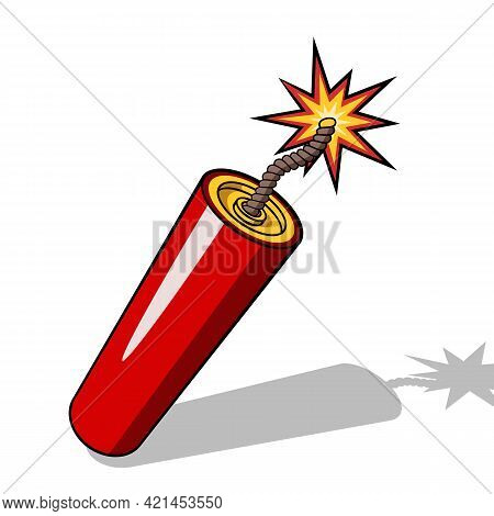 Red Dynamite Stick Icon With Burning Wick And Shadow Isolated On White Background. Vector Illustrati