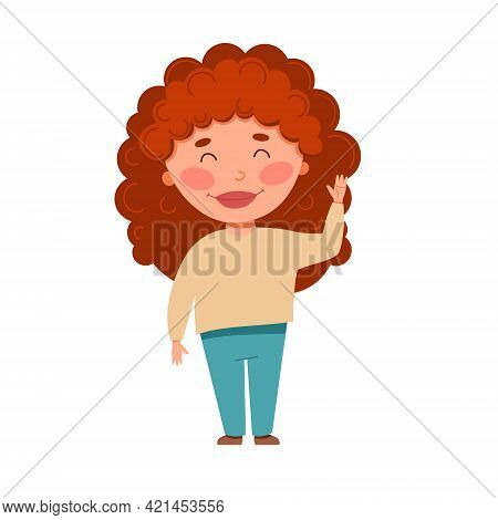 A Curly-haired, Light-skinned, Red-haired Girl Waves. Vector Illustration