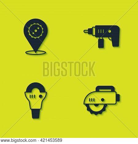Set Circular Saw Blade, Electric Circular, Angle Grinder And Drill Machine Icon. Vector