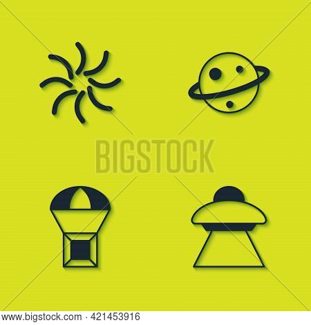 Set Black Hole, Ufo Flying Spaceship, Box On Parachute And Planet Saturn Icon. Vector