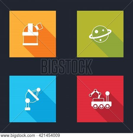 Set Astronomical Observatory, Planet Saturn, Satellite Dish And Mars Rover Icon. Vector