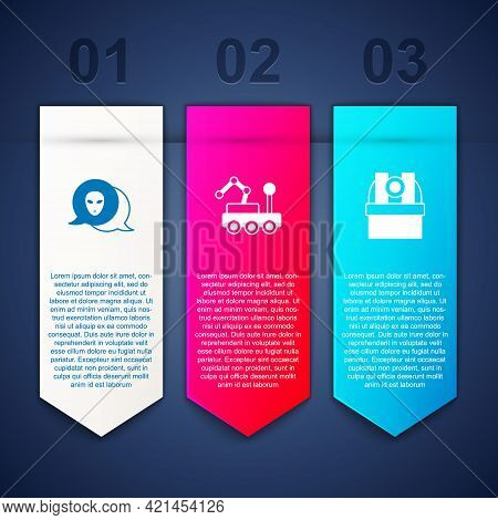 Set Alien, Mars Rover And Astronomical Observatory. Business Infographic Template. Vector
