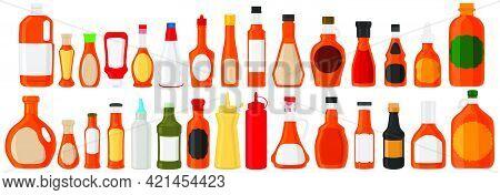 Illustration On Theme Big Kit Varied Glass Bottles Filled Liquid Caramel Syrup. Bottles Consisting F