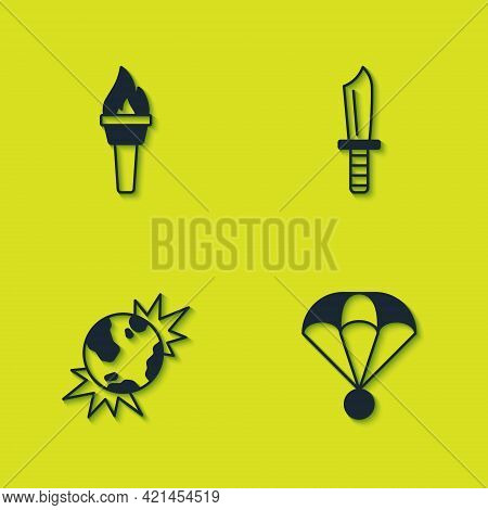 Set Torch Flame, Parachute, Bomb Explosive Planet Earth And Military Knife Icon. Vector