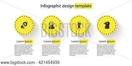 Set Firework, George Washington, Stage Stand Tribune And Eagle Head. Business Infographic Template.