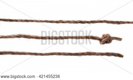 Set Of Natural Linen Straw Rope Cords Lines Isolated On White Background