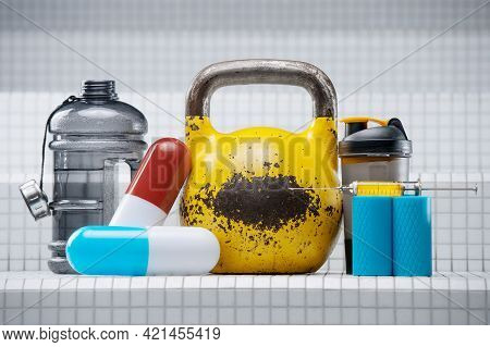 Set Of Sports Accessories. Yellow Kettlebell With Pills, Shaker, Syringe, Injector, Steroids, Medici