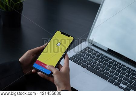 Chiang Mai, Thailand, Apr 6, 2021 : Snapchat Application Icon On Apple Iphone X Smartphone Screen Cl