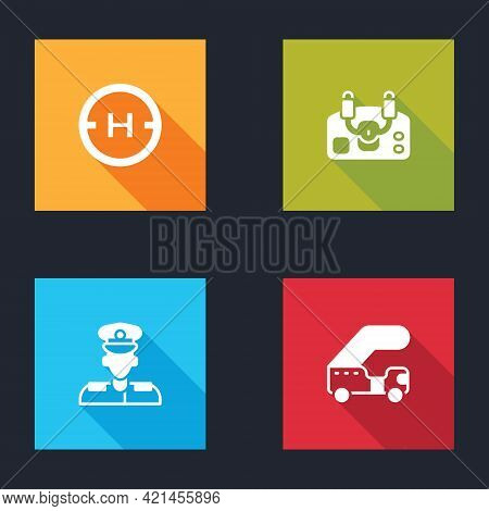 Set Helicopter Landing Pad, Aircraft Steering Helm, Pilot And Passenger Ladder Icon. Vector