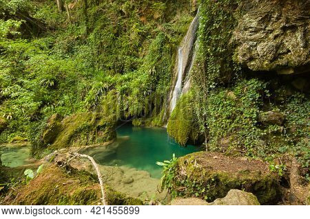 Panoramic View Of Wonderful Waterfall In The Forest Near Castel Di Fiori, Umbria