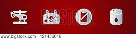 Set Helicopter, Aircraft Steering Helm, No Cell Phone And Barrel Oil Icon. Vector