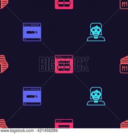 Set Hacker Or Coder, Search Engine, Mysql And Processor On Seamless Pattern. Vector